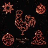 Elementos vermelhos do brilho do ano novo Fotos de Stock Royalty Free