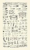 Elementos y banderas dibujados mano forma del vector del 100% Fotos de archivo libres de regalías