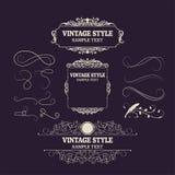Elementos y marcos de las decoraciones del vintage Nueva colección del diseño retro del estilo para las invitaciones, banderas, c stock de ilustración