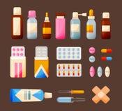 Elementos y medicinas médicos determinados: tabletas, jarabes, descensos, ungüentos, equipo stock de ilustración