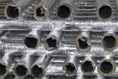 Elementos y piezas hechos de la hoja galvanizada para los diversos sistemas de ventilaci?n foto de archivo libre de regalías