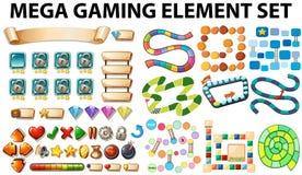 Elementos y plantilla del juego ilustración del vector