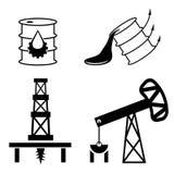 elementos y símbolo de la caída y subida de precios del petróleo Imagen de archivo libre de regalías