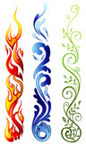 Elements. An illustration of fire, water and nature icon Stock Image