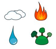 Elements. Illustration of water, earth, fire and air Royalty Free Stock Photo