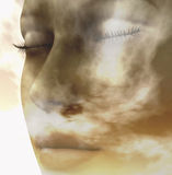 Elements. Digital composition of a female face / one of four elements: air Royalty Free Stock Image