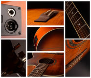 Elements of acoustic guitar. Acoustic guitar elements close up as background Royalty Free Stock Photos