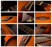 Elements of acoustic guitar. Acoustic guitar elements close up as background Royalty Free Stock Image