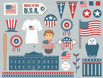 Elements of america. A collection of american themed objects including flags, banners, buttons, stars and stripes and the white house Stock Photos