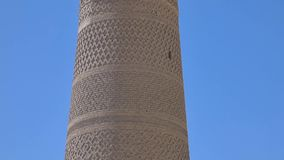 Elements of ancient architecture of Central Asia. High oval tower of bricks, ancient Asian buildings. the details of the architecture of medieval Central Asia stock video