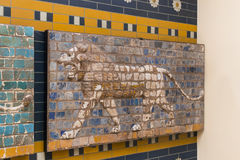 Elements of the Antiquity of the Babylonian Wall. With Animal Mosaic stock photo