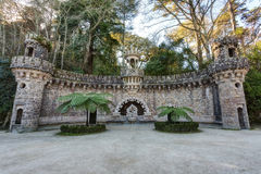 Elements of architectural structures in Quinta Regaleira. Stock Image