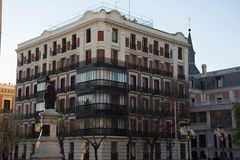 Elements of architecture. Decor of buildings in the center of Madrid, Spain. Background Royalty Free Stock Photo
