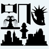 Elements architecture. Panoramic city, statue liberty, fountain, fire hydrant, open door and window.  on blue background. Vector silhouettes Stock Photos