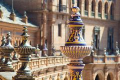 Elements of architecture of Plaza de Espana Palace in park of Maria Luisa in Seville Spain. stock image
