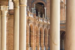Elements of architecture of Plaza de Espana Palace in park of Maria Luisa in Seville Spain. royalty free stock photo