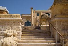 Elements of Maltese architecture, Valletta, Malta. Stone staircase, columns and other architectural elements in the historic part of Valletta, Malta Stock Photo