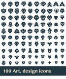 100 Elements. 100 art, design icons on white background Royalty Free Stock Photo