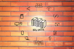 Elements of big data with servers and flare Stock Photo