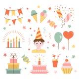 Elements birthday. Set of birthday. Flat style. Vector illustration stock illustration