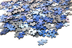 Elements of a blue puzzle Stock Photography
