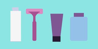 Elements for Boys Face Wash. Shaving Accessories. Royalty Free Stock Photo