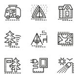 Elements of camping simple line icons set Royalty Free Stock Images
