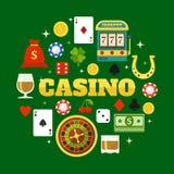 Elements Of Casino Flat Icons Set Stock Image