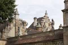 Elements of the castle architecture and the church of the eclectic Vajdahunyad. In Budaplast in Hungary Stock Images