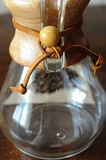 Elements of Chemex close up. Rustic and glass elements of Chemex close up Royalty Free Stock Image
