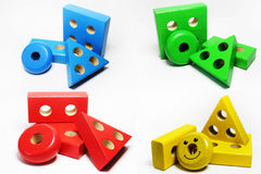 Elements from children`s puzzle toys in different colors Royalty Free Stock Images