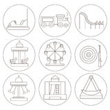 Elements of the city. Icons amusement park in the style of outlines. Royalty Free Stock Images