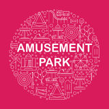 Elements of the city. Icons amusement park in the style of outlines. Stock Image