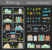 Elements of City Night. Elements of modern city night. Design your own town. Map elements for your pattern, web site or other type of design. Vector illustration Stock Photos