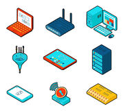 Elements of cloud computing network. Technology computer and data, connection wireless and connect, database storage, optimization firewall, vector Royalty Free Stock Photos