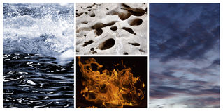 4 elements. Collage of the four classical elements stock photo