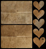 Elements collection for scrapbook. Two papers and five hearts for scrapbook royalty free illustration