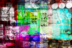 Elements and colors. Grungy style of abstract image composed of many elements and colors Stock Images