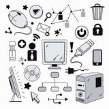Elements of computer hardware and networks Royalty Free Stock Images