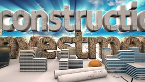 Elements of construction, Construction of a residential microdistrict in the background of a cloud time lapse, the. Concept of the construction industry stock footage