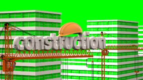Elements of construction, construction of a residential microdistrict in the background of a cloud time lapse, the stock video
