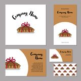 Corporate branding pie bandaged with ribbon. Elements of corporate identity for bakery, confectionery. Vintage corporate branding. Handrawing pie bandaged with Royalty Free Stock Image