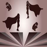 Elements for crouched woman and superheroines shad. Separate Elements for crouched woman and superheroines shadow Stock Image