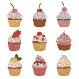 Elements of a cupcake. Stock Photos