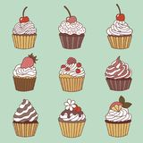 Elements of a cupcake. Royalty Free Stock Image