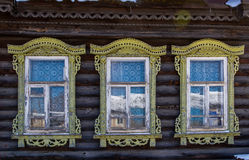 Elements of decoration of windows in an old Russian house Royalty Free Stock Photos