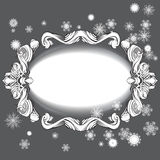 Elements for design greeting card with snowflakes. Fir branches, bow frame, card,  vector Stock Images