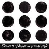 Elements of design in grunge style. Vector paint circles. Isolated on a white background royalty free illustration