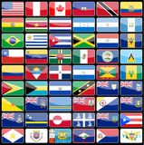 Elements of design icons flags of the continent of America. Royalty Free Stock Photography