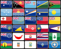 Elements design icons flags of the countries of Australia and Oceania. Vector illustration Royalty Free Stock Image